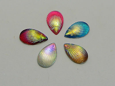 500 Mixed Color With AB Shell Acrylic Flatback Teardrop Cabochons 7X13mm