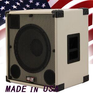 1x15 with tweeter bass guitar speaker cabinet 500w 8 ohms white tolex 440live ebay. Black Bedroom Furniture Sets. Home Design Ideas