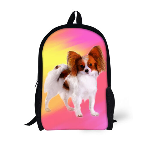 Cute Papillon Chihuahua Backpack for Girls Boys Child Kids School Bags Bookbags