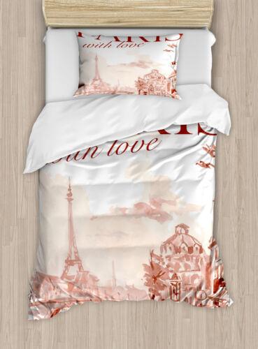 Pink Duvet Cover Set with Pillow Shams Vintage Watercolor Paris Print