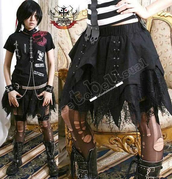 Goth Punk Vampire Tierer Corset Bat Wing Cobweb Lace Irregular Witch Broom Skirt