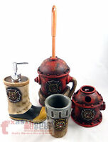 Fireman Bathroom Accessory Set 4 Pieces Maltese Cross Fire Hydrant Boot Hose