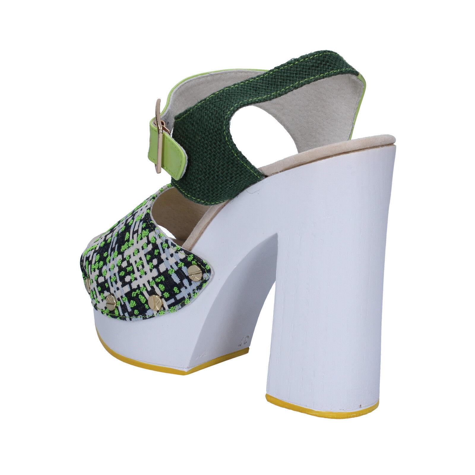 Scarpe Scarpe Scarpe donna SUKY BRAND 38 sandali verde tessuto vernice AC489-C 421e14