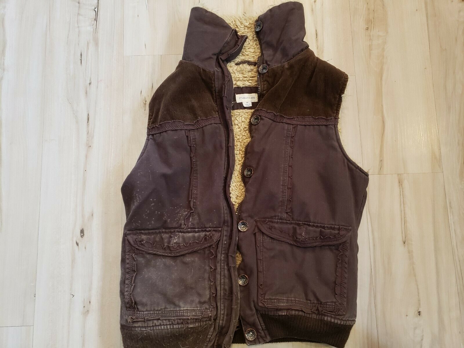 Maurices Brown Distressed Fur Vest Womens Sweater Autumn Spring Heavy Size M