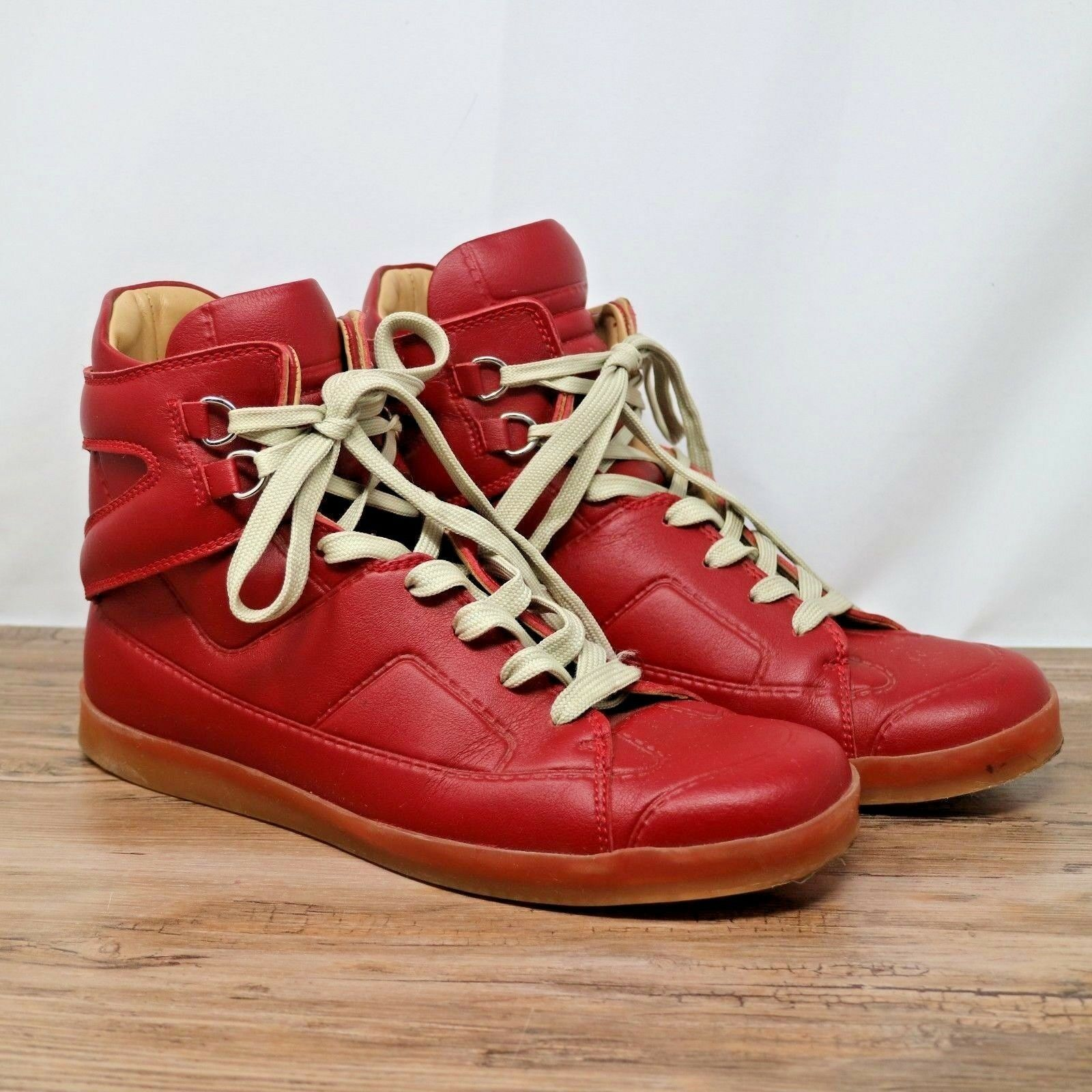 Maison Martin Margiela x H&M Mens Red Leather Hi Tops Sneakers shoes 43 EU 10 US