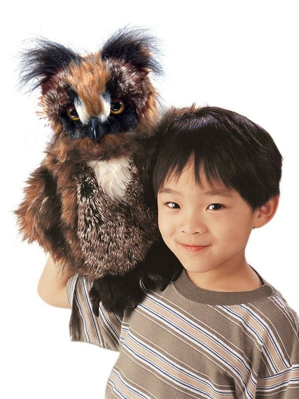 GREAT HORNED OWL Puppet 18 T SPECTACULAR  USA Folkmanis Puppet