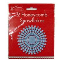 Honeycomb 3D Christmas Hanging Snowflakes - Blue and White - Pack of 2