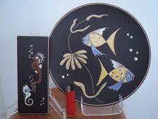 2 große RUSCHA Wandteller, 1950ties Keramik, West German Pottery, 1A