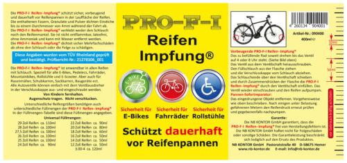 PRO-F-I Reifen-Impfung dauerhafter Reifenpannenschutz für alle E-Bikes und Bikes