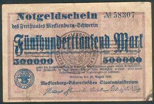 Meckl-Schwerin-500-000-Mark-auf-100-Mark-Schein-10-Aug-1923-Kenn-Nr-58307