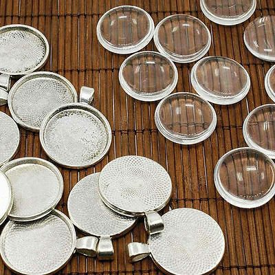 10 Set 25mm Transparent Clear Glass Cabochon Cover for Photo Pendants DIY Making