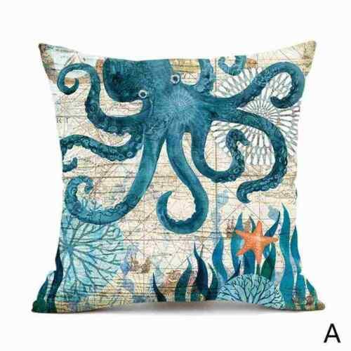 Sea Animal Cotton Linen Pillow Case Sofa Throw Cushion Cover Home Decor