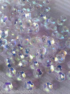 Sequins 6mm Flower Cup Diamond Crystal White AB Iris Rare Read Description