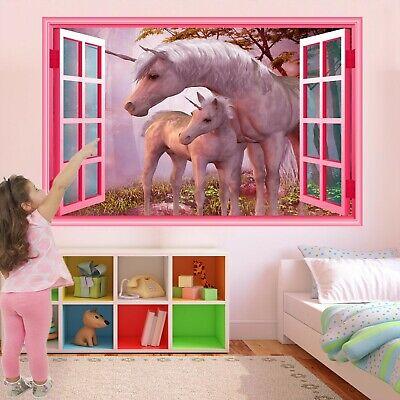 Costante Unicorno Fantasy Foresta Wall Sticker Murale Decalcomania Stampa Arte Girls Room Decor Az44-