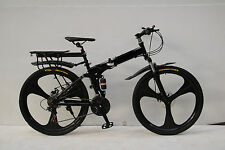 "26"" FOLDING MOUNTAIN BIKE BICYCLE BLACK SHIMANO 21 SPEED MAGNESIUM ALLOY WHEEL"