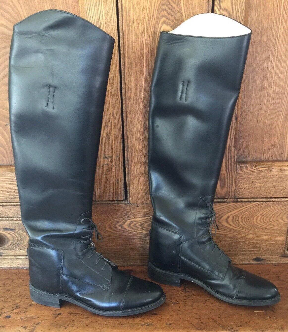 Effingham Bond botas 2000L alto Ecuestre Equitación Tire de encaje de cuero negro 7