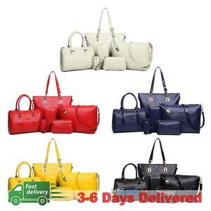 6Pcs Set Fashion Women Shoulder Bag PU Leather Purse Tote Handbag Crossbody Bag