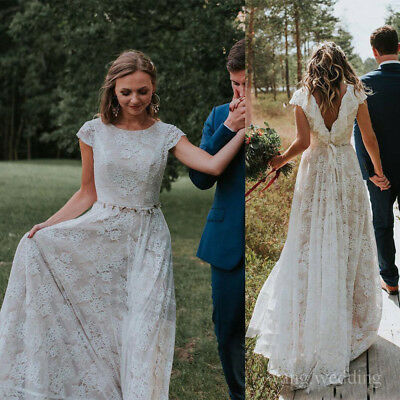 Vintage Bohemian Beach Wedding Dresses Full Lace Country Bridal Gowns Plus  Size | eBay