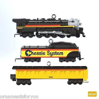 Hallmark 2012 Lionel Chessie Steam Special set of 3 Miniature Ornaments