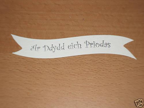 25 Ar Ddydd eich Priodas  Foiled Banners Silver On White Card