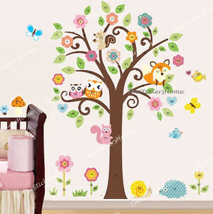Image Is Loading Owl Scroll Flower Tree Animal Woodland Wall Stickers