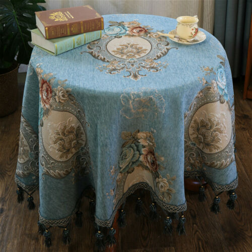 Floreale Vintage Tovaglia Ciniglia Jacquard Tavolo Rotondo Cover Nappa Decor