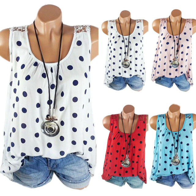 Plus Size Women Polka Dot Lace Crochet Tank Top Sleeveless Blouse Summer T-Shirt