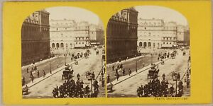Francia-Parigi-Rue-Rivoli-Animata-Foto-Stereo-P8L2n-Vintage-Albumina-Ca-1865