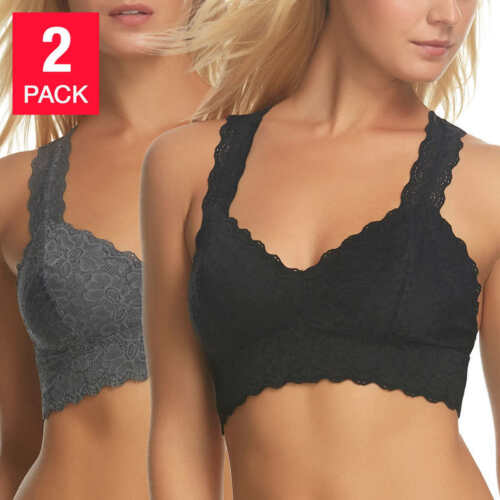 Felina Ladies' 2-pack T-back Lace BraletteColors Black /& white