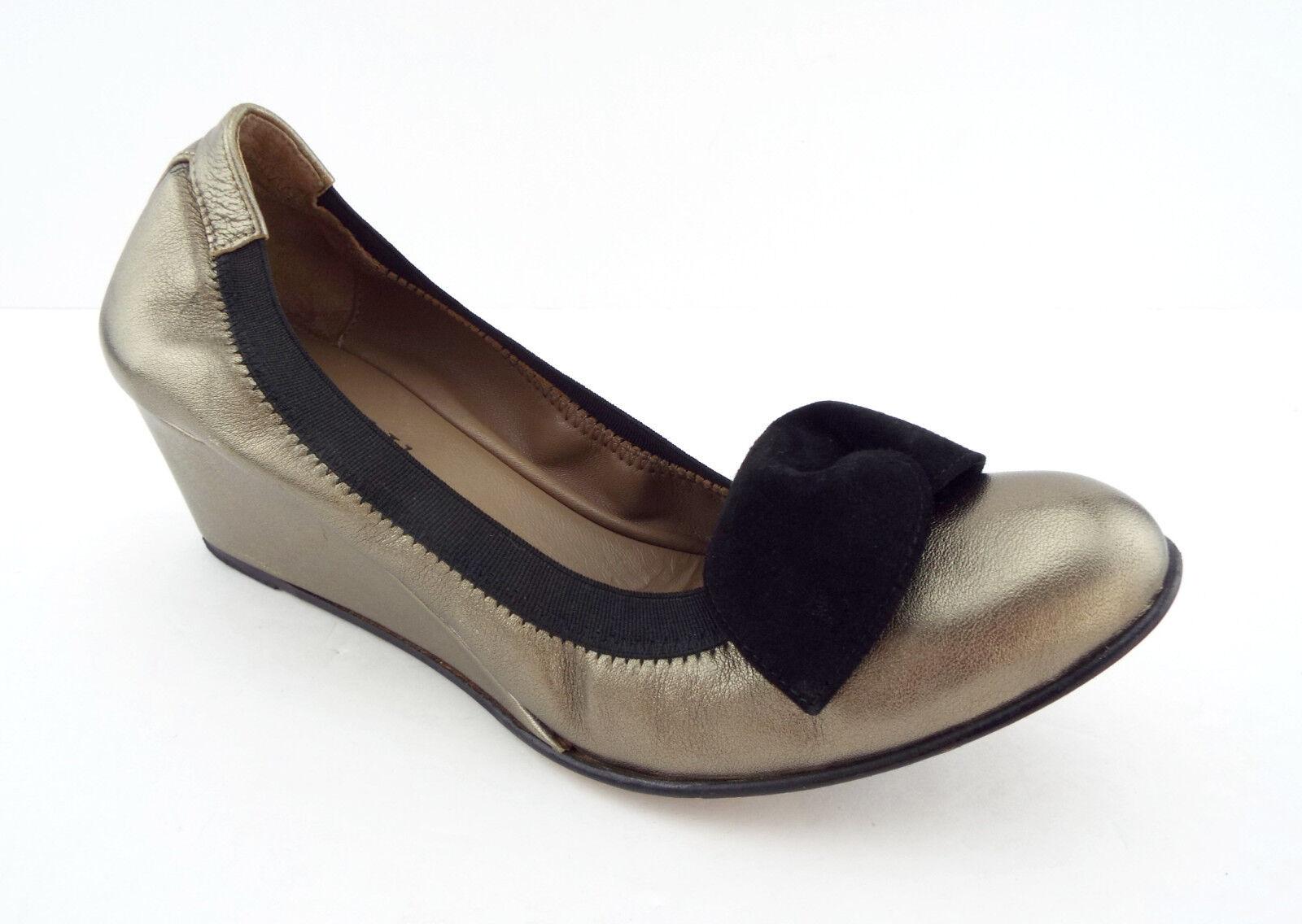 ANYI LU Size 8.5 ROSIE Pewter Metallic Wedge Ballet Flats shoes w  Bow 39