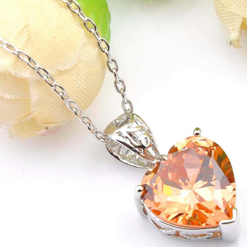 Love Heart Fire Natural Morganite Gemstone Silver Necklace Pendant With Chain