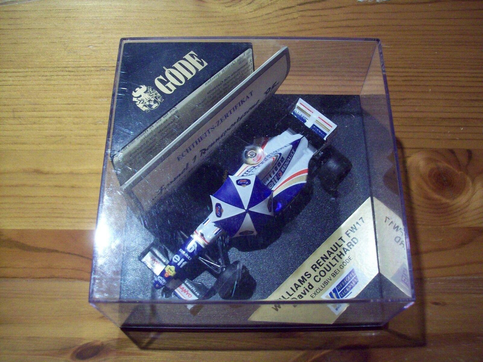 1 43 GODE WILLIAMS RENAULT FW17 DAVID COULTHARD 1995 blueE WHITE UMBRELLA