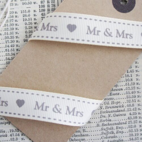 Favours Table Decorations Gift Wrap Cream Ivory Wedding Mr /& Mrs Ribbon 16mm