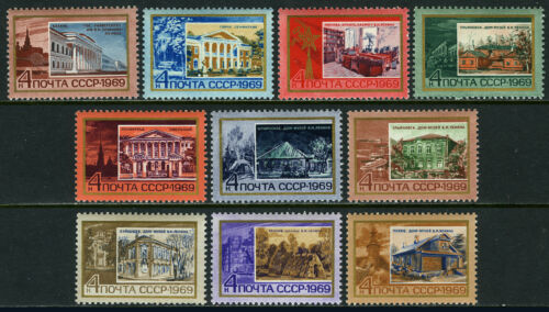 Russia 3582-3591, MNH. Places connected with Vladimir Lenin, 1969