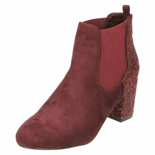 LADIES ANNE MICHELLE PULL ON MICROFIBRE GLITTER CASUAL ANKLE BOOTS F50682 SIZES