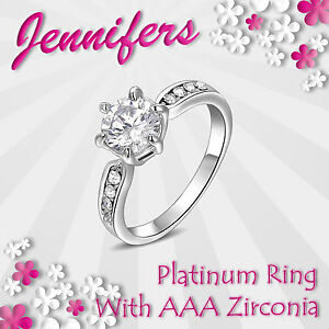 Ladies-Fashion-Ring-Platinum-Girls-Women-Genuine-Crystal-Jewelry-Fashionable-NEW