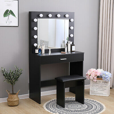 Black Dressing Table Makeup Desk W Led, Black Vanity Set With Lighted Mirror And Stool