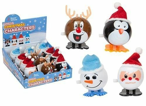 PM343 Stocking Fillers 4 X 7cm Wind Up Christmas Character Novelty Toy