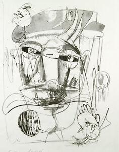 DDR-Kunst-doppelzuengig-1985-Lithographie-Wolfgang-HENNE-1949-D-handsigniert