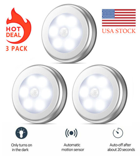 Battery-Powered LED Night Lights Closet Lights Silver Motion Sensor Lights