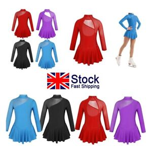 UK-Kids-Girls-Figure-Ice-Roller-Skating-Dress-Gymnastics-Ballet-Leotards-Costume