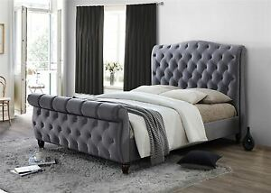 Colorado Chesterfield Sleigh Grey Fabric 6ft 180cm Super King Size