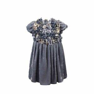 Blumarine Baby Kinder Mädchen Samt Kleid Blumen Applikation Blau Gr 92 NP €219