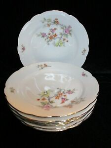 KAHLA FLORAL BUSHES OFF CENTER KHL71 MULTICOLORED FLOWERS 8 SALAD PLATES 7 3/8""