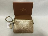 COACH Legacy GOLD Glitter Zip Small Wristlet Wallet Bag Clutch 50374 *NEW w/ Tag