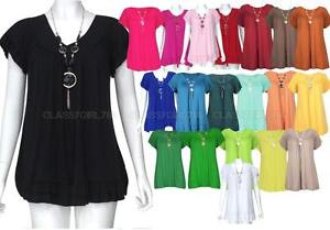 New Womens Plus Size Gypsy Tops Frill Necklace Ladies Tunic Short Sleeve 12-22