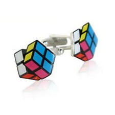 Multicoloured Rubics Cube Working Puzzle Cufflinks With Gift Pouch Game Present