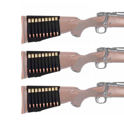 3pcs Rifle Cartridge Bullet Holder Butt Stock 9 Rounds Shell Ammo Pouch Carrier