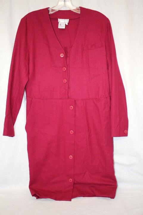 Vintage THE CAMBRIDGE SHOP 100% Wool Red Shirt Dress W 3QTR Sleeves, 2-B115