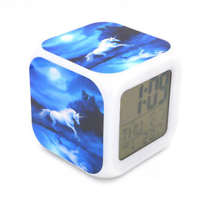 Details about New Unicorn Moon Led Alarm Clock Creative Desk Digital Clock  for Adult Kids Toy